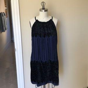 Gorgeous Navy and Black velvet dress L